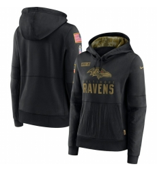 Women Baltimore Ravens Nike 2020 Salute to Service Performance Pullover Hoodie Black