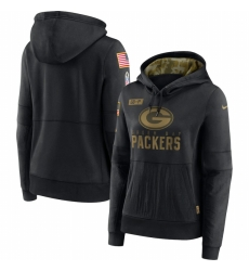 Women Green Bay Green Bay Green Bay Green Bay Packers Nike 2020 Salute to Service Performance Pullover Hoodie Black