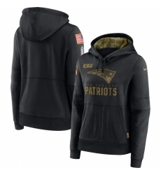 Women New England Patriots Nike 2020 Salute to Service Performance Pullover Hoodie Black