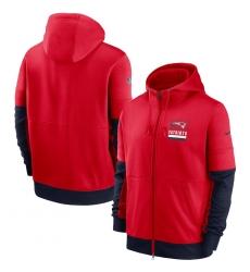 Men New England Patriots New 2020 Nike Red Black Fan Gear Mascot Performance Full Zip Hoodie