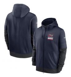 Men New England Patriots Nike Sideline Impact Lockup Performance Full Zip Hoodie Navy