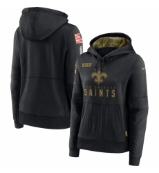 Women New Orleans Saints Nike 2020 Salute to Service Performance Pullover Hoodie Black
