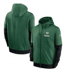 Men New York Jets New 2020 Nike Green Black Fan Gear Mascot Performance Full Zip Hoodie