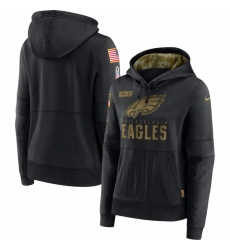 Women Philadelphia Eagles Nike 2020 Salute to Service Performance Pullover Hoodie Black