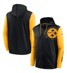 Men Pittsburgh Steelers Black Gold Fan Gear Mascot Performance Full Zip Hoodie