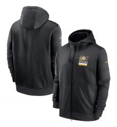 Men Pittsburgh Steelers New 2020 Nike Gray Black Fan Gear Mascot Performance Full Zip Hoodie