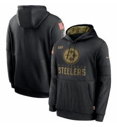 Men Pittsburgh Steelers Nike 2020 Salute to Service Sideline Performance Pullover Hoodie Black