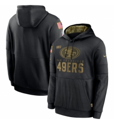 Men San Francisco 49ers Nike 2020 Salute to Service Sideline Performance Pullover Hoodie Black