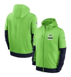 Men Seattle Seahawks New 2020 Nike Green Black Fan Gear Mascot Performance Full Zip Hoodie
