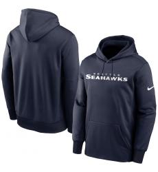 Men Seattle Seahawks Nike Fan Gear Wordmark Performance Pullover Hoodie College Navy