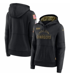 Women Los Angeles Chargers Nike 2020 Salute to Service Performance Pullover Hoodie Black