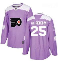 Flyers #25 James Van Riemsdyk Purple Authentic Fights Cancer Stitched Hockey Jersey