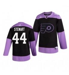 Flyers 44 Chris Stewart Black Purple Hockey Fights Cancer Adidas Jersey