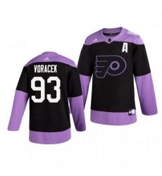 Flyers 93 Jakub Voracek Black Purple Hockey Fights Cancer Adidas Jersey