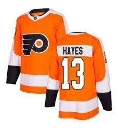 Men Kevin Hayes #13 Philadelphia Flyers Authentic Stitched Jersey Orange NHL Jersey