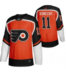 Men Philadelphia Flyers 11 Travis Konecny Orange Adidas 2020 21 Reverse Retro Alternate NHL Jersey