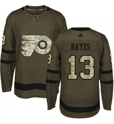 Men Philadelphia Flyers #13 Kevin Hayes Green Salute to Service Stitched NHL Jersey