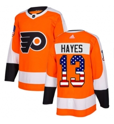 Men Philadelphia Flyers #13 Kevin Hayes Orange Home Authentic USA Flag NHL Jersey