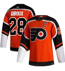 Men Philadelphia Flyers 28 Claude Giroux Orange 2020 21 Reverse Retro Adidas Jersey