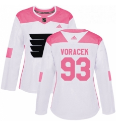 Womens Adidas Philadelphia Flyers 93 Jakub Voracek Authentic WhitePink Fashion NHL Jersey