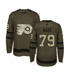 Youth Philadelphia Flyers #79 Carter Hart Authentic Green Salute to Service Hockey Jersey