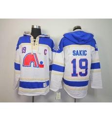 Nordiques #19 Joe Sakic White Sawyer Hooded Sweatshirt Stitched NHL Jersey