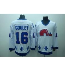 Quebec Nordiques 16 Goulet White Jerseys CCM