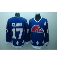 Quebec Nordiques 17 Clark Blue Jerseys CCM