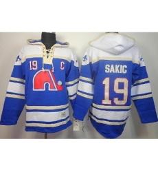 Quebec Nordiques 19 Joe Sakic Blue Lace-Up NHL Jersey Hoodies