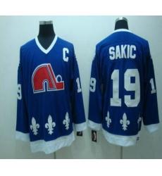 Quebec Nordiques 19 Sakic Blue Jerseys