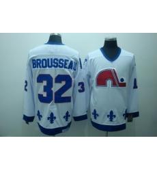 Quebec Nordiques 32 Brousseau White Jerseys CCM