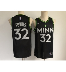 Men Minnesota Timberwolves 32 Karl Anthony Towns Black 2021 Nike City Edition Swingman Stitched NBA Jersey