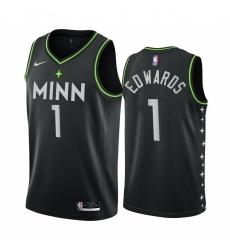 Men Nike Minnesota Timberwolves 1 Anthony Edwards Black NBA Swingman 2020 21 City Edition Jersey