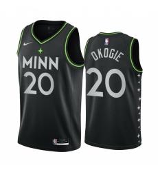 Men Nike Minnesota Timberwolves 20 Josh Okogie Black NBA Swingman 2020 21 City Edition Jersey