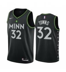 Men Nike Minnesota Timberwolves 32 Karl Anthony Towns Black NBA Swingman 2020 21 City Edition Jersey