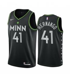 Men Nike Minnesota Timberwolves 41 Juancho Hernangomez Black NBA Swingman 2020 21 City Edition Jersey
