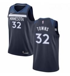 Mens Nike Minnesota Timberwolves 32 Karl Anthony Towns Swingman Navy Blue Road NBA Jersey Icon Edition