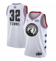 Mens Nike Minnesota Timberwolves 32 Karl Anthony Towns White NBA Jordan Swingman 2019 All Star Game Jersey