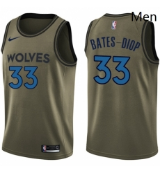 Mens Nike Minnesota Timberwolves 33 Keita Bates Diop Swingman Green Salute to Service NBA Jersey