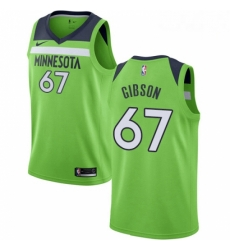 Mens Nike Minnesota Timberwolves 67 Taj Gibson Authentic Green NBA Jersey Statement Edition