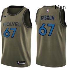 Mens Nike Minnesota Timberwolves 67 Taj Gibson Swingman Green Salute to Service NBA Jersey