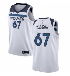 Mens Nike Minnesota Timberwolves 67 Taj Gibson Swingman White NBA Jersey Association Edition