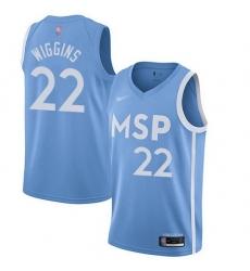 Timberwolves  22 Andrew Wiggins Blue Basketball Swingman City Edition 2019 20 Jersey