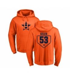 Men MLB Nike Houston Astros 53 Ken Giles Orange RBI Pullover Hoodie