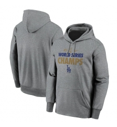 Men Los Angeles Dodgers Nike 2020 World Series Champions Gold Fleece Pullover Hoodie Gray