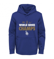 Men Los Angeles Dodgers Nike 2020 World Series Champions Gold Fleece Pullover Hoodie Royal