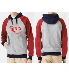 MLB Men Nike Minnesota Twins Pullover Hoodie GreyRed