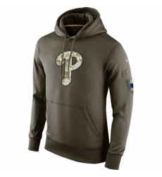 MLB Men Philadelphia Phillies Nike Olive Salute To Service KO Performance Hoodie