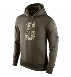 MLB Men Seattle Mariners Nike Olive Salute To Service KO Performance Hoodie