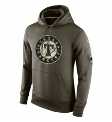 MLB Men Texas Rangers Nike Olive Salute To Service KO Performance Hoodie